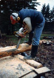 Dec 1984- notching 1st logs