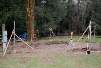 corner posts set & braced