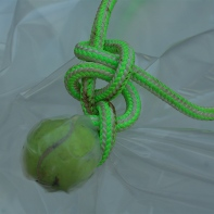 tennis ball in a noose
