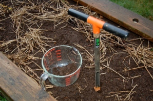 soil testing, taking a core sample