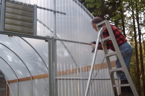 installing polycarbonate on north end wall