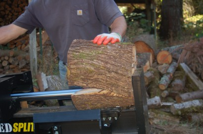 splitting maple firewood
